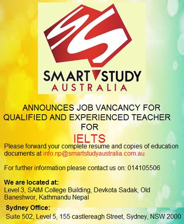 IELTS Teacher wanted for a reputed Education Consultancy. in Kathmandu