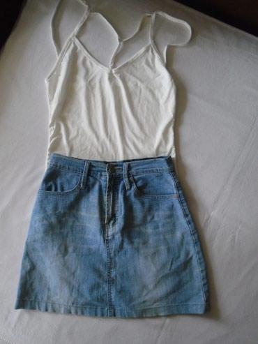 Suknjica-jeans - Srbija: Teksas suknjica Teli jeans od tanjeg i mekšeg teksasa, sa oznakom high