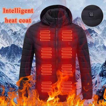 платье футляр теплое в Кыргызстан: Мужская зимняя теплая куртка HEFLASHOR с USB-подогревом, однотонная