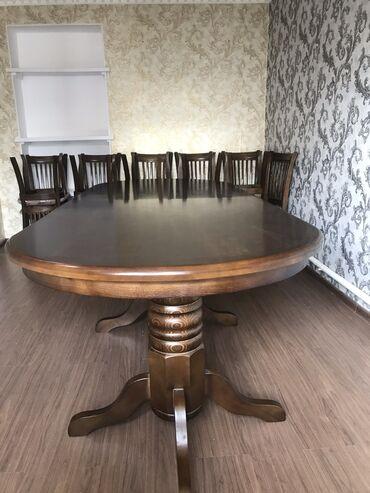 стол и стулья для гостиной в Кыргызстан: СТОЛ СТУЛЬЯ  Дубовый  Мощный крепкий богатый  Для торжеств, для встре