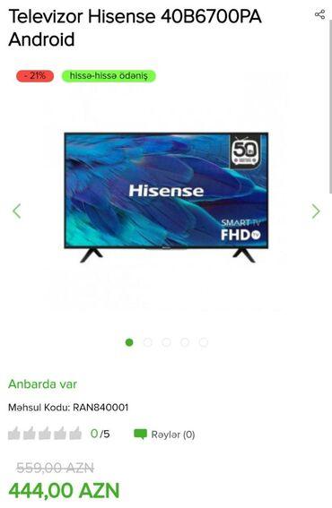 android чехол в Азербайджан: Televizor Hisense    Model-40B6700PA (Android)    Nağd və kreditlə sa
