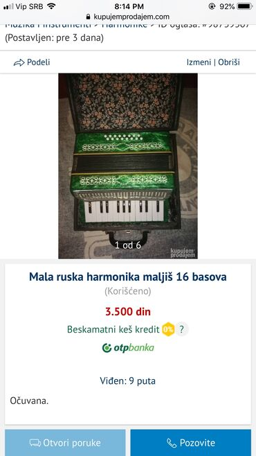 Harmonike - Srbija: Mala ruska harmonika maljiš 16 basova
