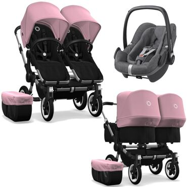 Bugaboo Donkey 2 Soft Pink Twin Stroller - Black Frame Donkey 2 Twin