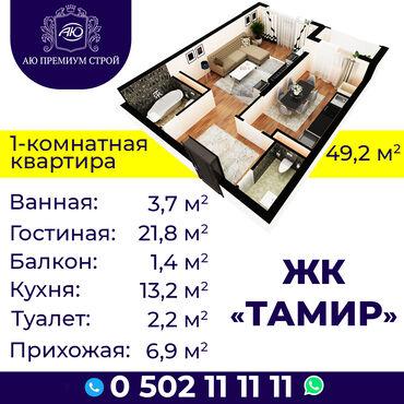 1 комнатные квартиры продажа in Кыргызстан | ПОСУТОЧНАЯ АРЕНДА КВАРТИР: Строится, Элитка, 1 комната, 49 кв. м