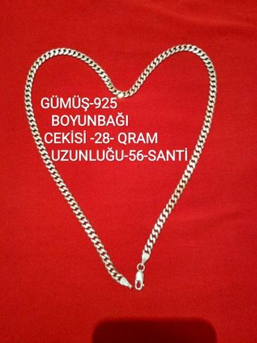Bakı şəhərində Gümüş boyunbağı (sep)cekisi 28-gram uzunlugu 56-santi .giymeti