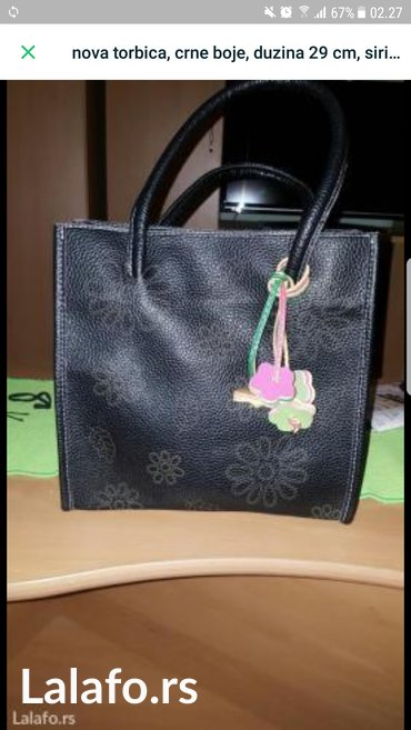 Nova torbica crne boje, duzina 29 cm, sirina 29 cm, dubina 12 cm. - Kostolac