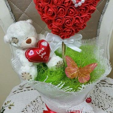 Мишки+сердца+розы!!! Букеты в Бишкек