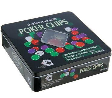 Покер, набор для игры (карты 2 колоды микс, фишки 100 шт), без