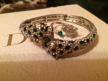 Комплект браслет и кольцо с гепардом.Родиевое покрытие,инкрустация