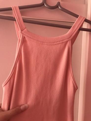 Roze pamuk - Srbija: Bebi roze pamucna haljina rebrasti pamuk rasteze se duzina do kolena