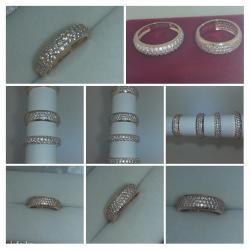 Золотые кольца с россыпью камней. в Бишкек