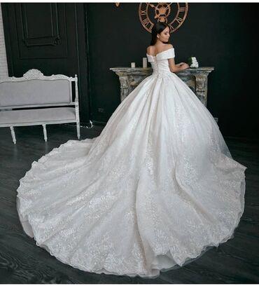 Свадебные платья - Кок-Ой: Шикарное свадебное платье на прокат! Комплекте имеется корона и серьги