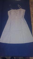 Nova haljina, nije oblacena, bež sa braon tufnama, velicina L - Belgrade