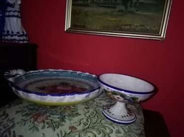 Komplet hand made bombonjerka i tanjir za voce prelepo kao pena - Sombor