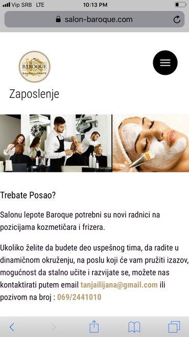 Frizerski - Beograd: Potreban pomocni frizer ili kompletan frizer.Plata zavisi od usluga