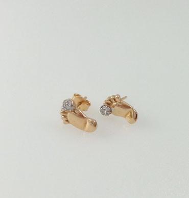 """Серьги """" Ножки"""" из красного золота с цирконом 585 проба. Цена 4800 Сом в Бишкек"""