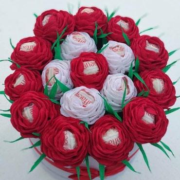 Цветы из гафрированной бумаги.С конфетами Rafaello в Бишкек