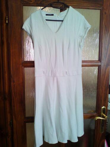 Din haljina - Srbija: Bela haljina sa postavom, kratak rukav, debeo materijal, broj 40, do