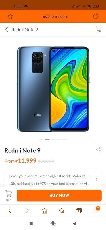 kredite avtomobiller в Азербайджан: Новый Xiaomi Redmi Note 9 4 ГБ Синий