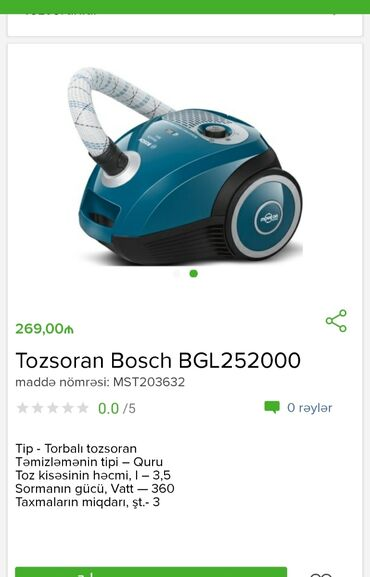 Tozsoran Bosch Tam zəmanətləNəğd və 1 kartla ödənişEvdən birbaşa