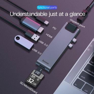 sound card - Azərbaycan: Original Baseus firmasi Universal Type-c adapter 2 eded Usb 3.0 port 1