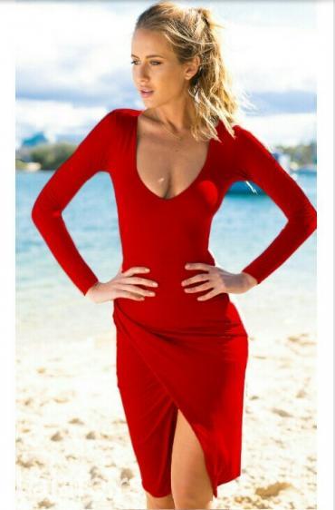 Crvena haljina uska dugih rukava sa slicom asimerticna M,L - Belgrade