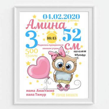 Снегурочка бумага - Кыргызстан: Метрика - это постер с самыми главными цифрами о дне рождения вашего