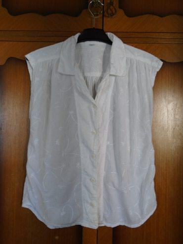 Bela, letnja košuljica sa diskretnim belim vezom od 100% pamuka, - Belgrade