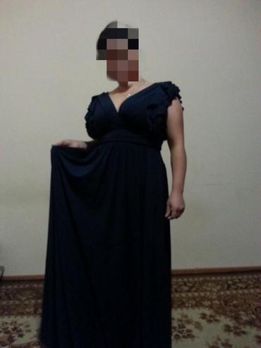 синее вечернее платье в Кыргызстан: Вечернее платье в пол 46_48размер. Цвет темно синий. Одевала 1раз