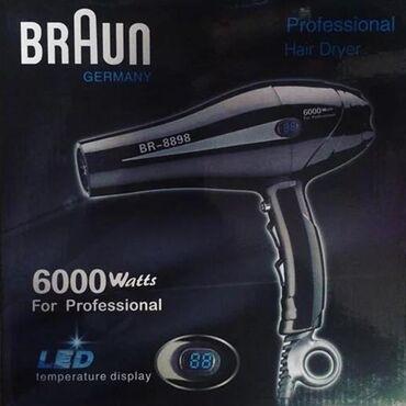 """Fen 'Braun BR8898"""" 6000w, qara rengdedirÜstünde dereceni gösteren mini"""