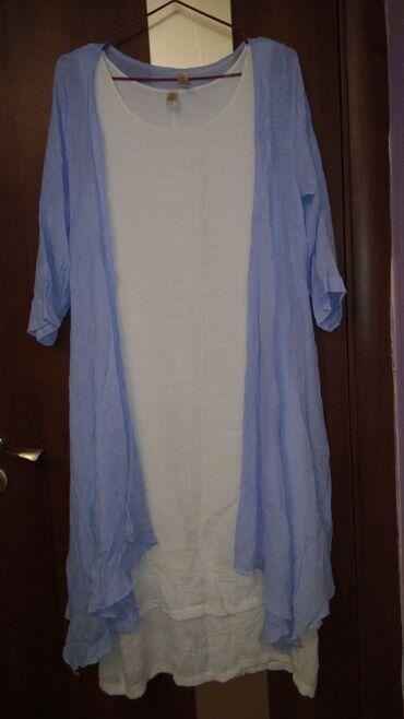 летнее платье свободного кроя в Кыргызстан: Летнее платье двойка из ХБ материала. Состояние отличное.Пару раз