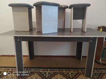стол с табуретками in Кыргызстан   ДРУГИЕ ТОВАРЫ ДЛЯ ДОМА: Стол с 4 табуретками в хорошем состоянии. Длина 160см ширина 85см