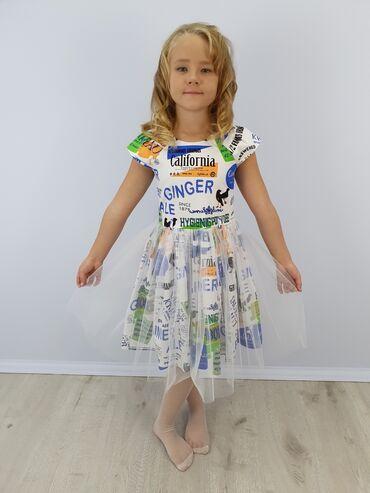 летнее платье из хлопка в Кыргызстан: Нарядное Платье Для Девочки Артикул: Ангелина Размеры: 134, 140, 146