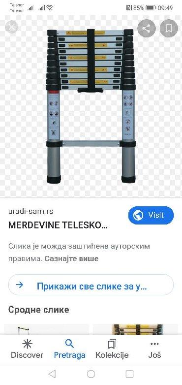 Duzina-sirina-m - Srbija: Prodajem teleskopske merdevine nove, koriscene par puta, duzina 3,2 m