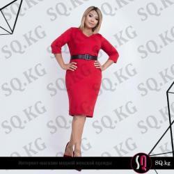 красное платье длина миди в Кыргызстан: Платье полуприталенного силуэта миди длины из джерси красного