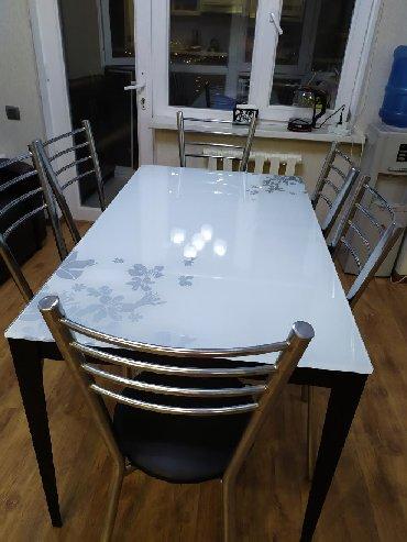Кухонный стеклянный стол (каленное стекло). Оригинал, со знаком