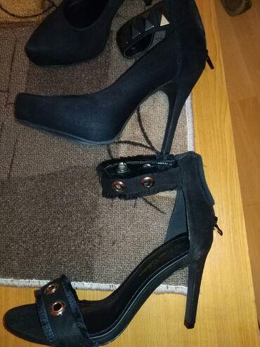 Ženska obuća | Zrenjanin: AKCIJA!!!!Dva para sandala, samo probane, crne, broj 38. Za