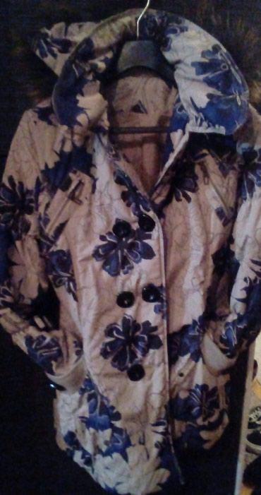 Zimska jakna drap boje sa teget cvetovima..vel 42 - Uzice