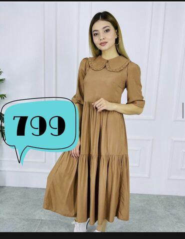 Платье французской длины, ткань штапель прекрасно садится, удобная к