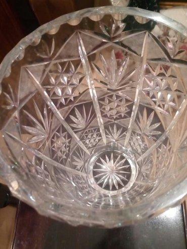 Kristalna vaza,ceski kristal,visina 26cm,obod 48,cm,bez ostecenja - Beograd