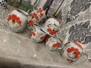 фарфоровый сервис в Кыргызстан: Чайный сервис. Чайник, сливочник, кружки (9 штук). Производство