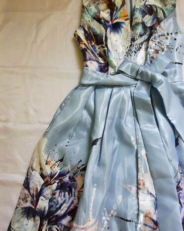 нарядное платье в пол в Кыргызстан: Нарядное платье с невероятно красивым принтом,с поясом.Длина в пол.В