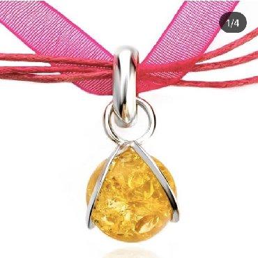чокер для шеи в Кыргызстан: Чокер с подвеской цветом желтого янтаря. Металл: Серебро 925. Товар