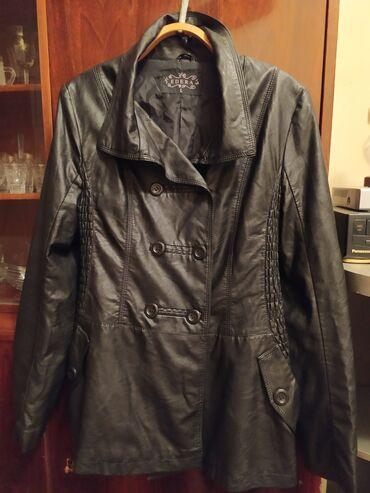Куртка жен черная кожанная б/у. Размер: 46- 48. Есть потёртость на