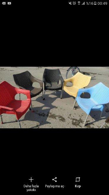 açılıb yığılan oturacaqlar kreslolar - Azərbaycan: Oturacaq kreslo plastik, həsir Ayagi demir 70 azn başqa çeşidlərimiz