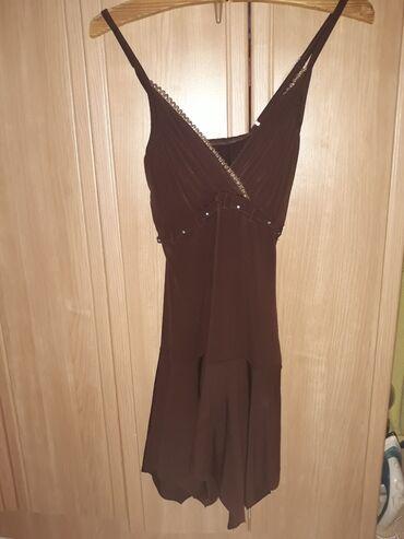 Haljinica s - Srbija: Elegantna braon haljinica sa zlatnim. S velicina
