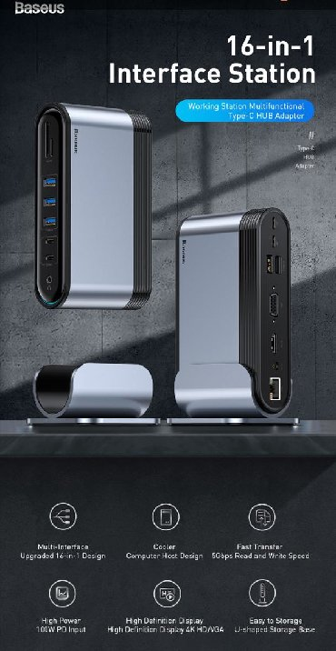 Dok-stansiya Azərbaycanda: Original Baseus firmasiUniversal Type-c adapter3 eded Usb 3.0 port1
