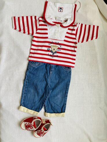slipy-na-devochku в Кыргызстан: Оригинальный комплект в морском стиле:) Хлопковая футболка и джинсы