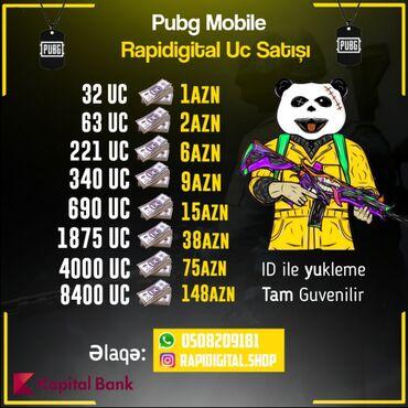 Pubg Mobile UC satışı Tam Güvənilir 5dəqiqə Ərzində ID ilə Yükləmə Onl