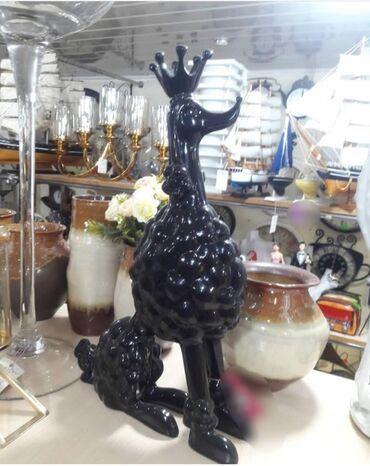 Statuetka korolevskiy pudel, steklo keramika. Est takje drugiye